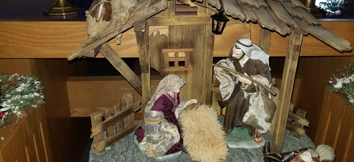 A tabletop nativity scene in our sanctuary